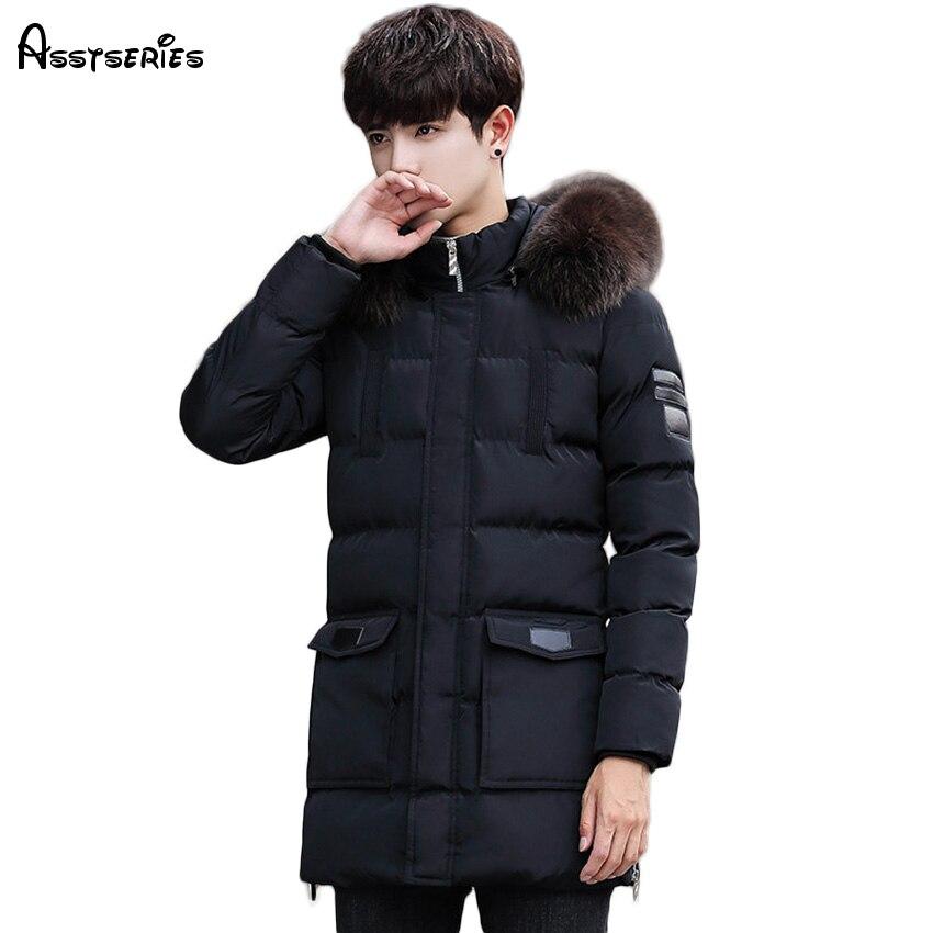 New Arrival 2018 Winter Warm Long Jacket Men's New Hooded Jacket Thick Warm Coat Fur Collar   Parkas   D110