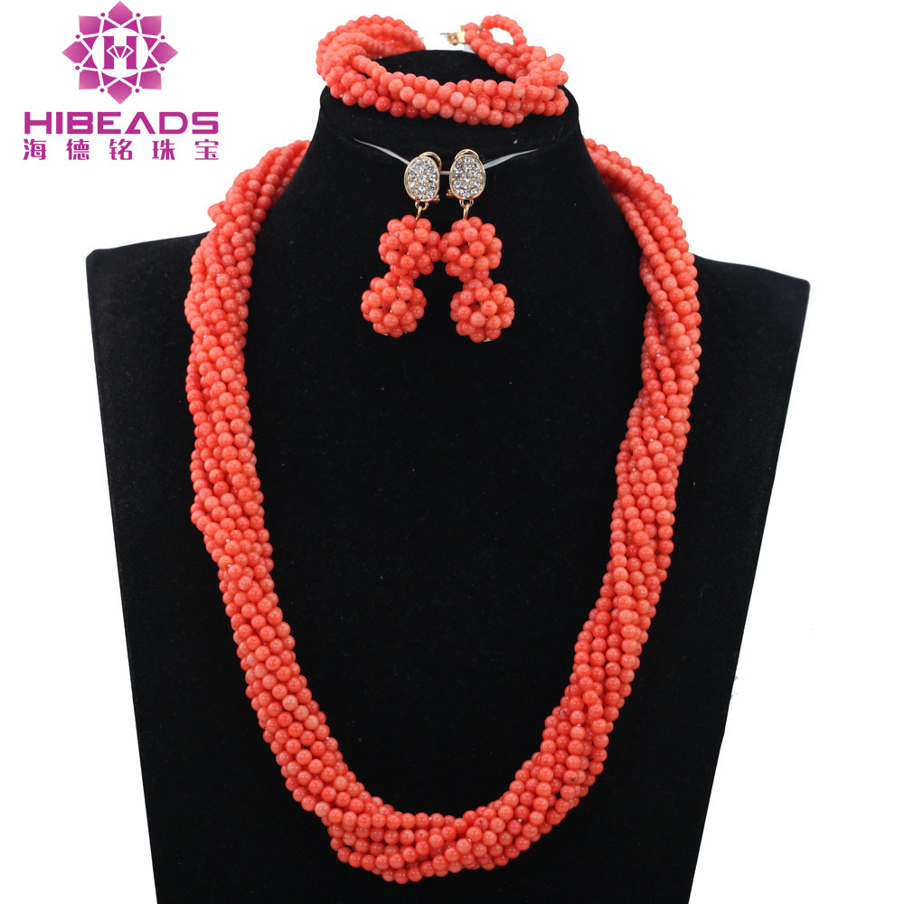 Nigerian Wedding Coral Beads Jewelry Set African Bridal Beads Set Long Pink Coral Necklace Set Free Shipping CNR165Nigerian Wedding Coral Beads Jewelry Set African Bridal Beads Set Long Pink Coral Necklace Set Free Shipping CNR165
