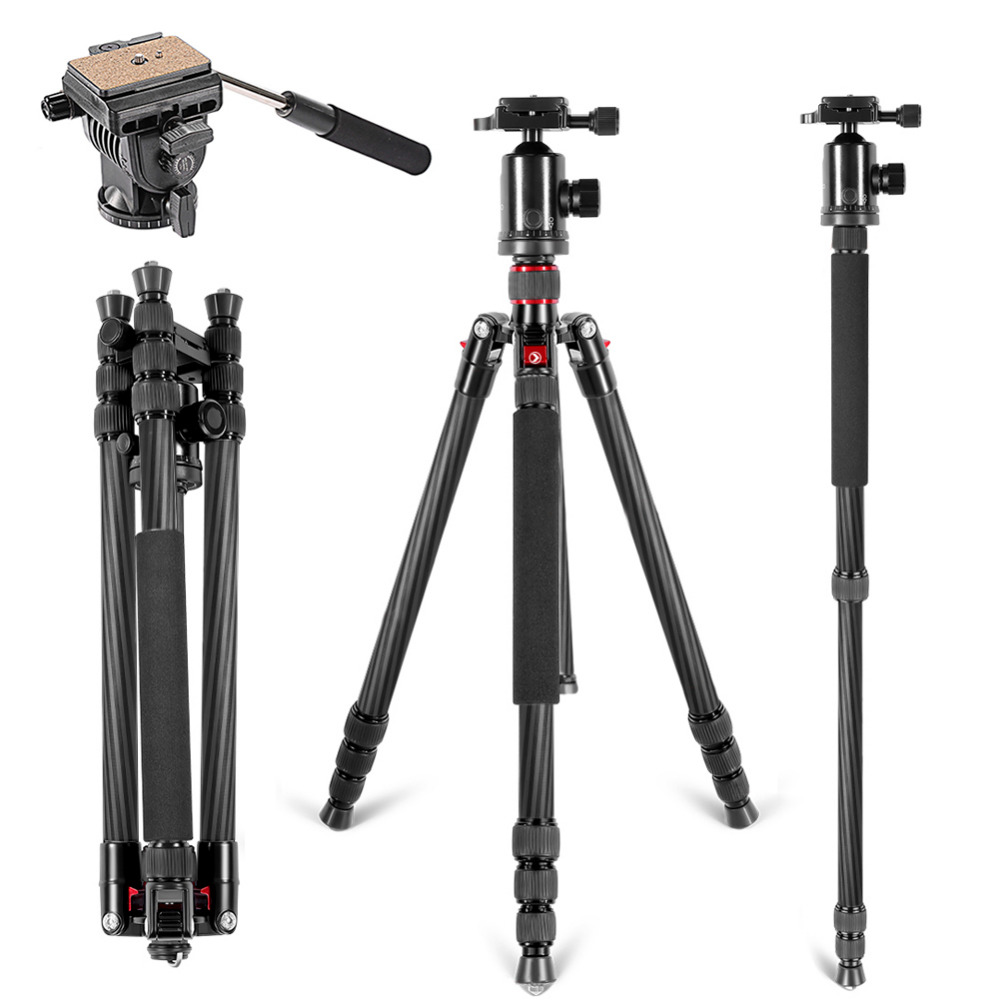 Neewer Carbon Fiber 66/168cm Tripod Monopod with 360 Degree Ball Head Fluid Video Head 1/4Quick Release Plate For Canon/NikonNeewer Carbon Fiber 66/168cm Tripod Monopod with 360 Degree Ball Head Fluid Video Head 1/4Quick Release Plate For Canon/Nikon