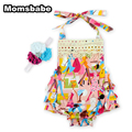 Momsbabe Print Fashion Baby Girl Romper Dress Lace-up Sleeveless 100% Cotton Headwear Newborn Clothing Set Christmas Baby Clothe
