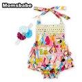Momsbabe imprimir baby girl fashion mameluco dress lace-up sin mangas 100% algodón sombreros recién nacido de la ropa del bebé de la navidad vestir