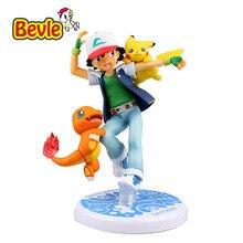 Bevle Pokemon 16cm Ash Ketchum Pikachu Charmander Cartoon Characters PVC Pokemon Go Animation Action Figure Doll Figure Toy