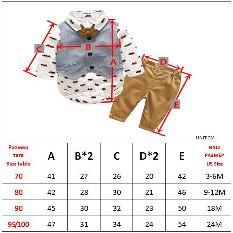 Image 5 - Newborn Boy Clothing Sets Cotton Gentleman 2019 Autumn Spring Fashion Plaid Rompers + Jeans + Vest Baby Clothes 0 24MClothing Sets   -