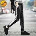 Los Hombres CALIENTES del Pantalón Raya Tobillo Anillados Cintura Elástica Con Cordón Pantalones de Los Estudiantes Hombres de Pie haz Negro gris Pantalones de Algodón M-XXL