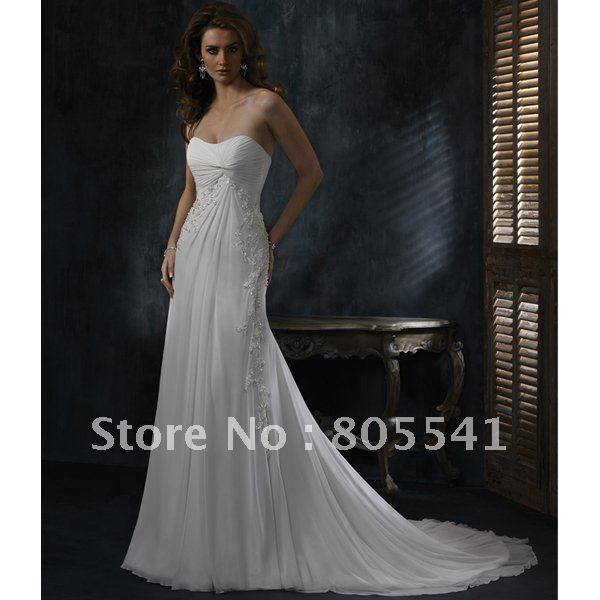 Free Shipping High Quality A-line Sleeveless Chiffon with Lace Applique Simple Wedding Dresses  A3448