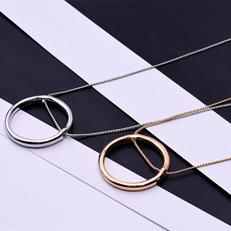 Pendant Necklace Geometry Circle Yang Mi Fashion Gold/silver-Color Women/men Round