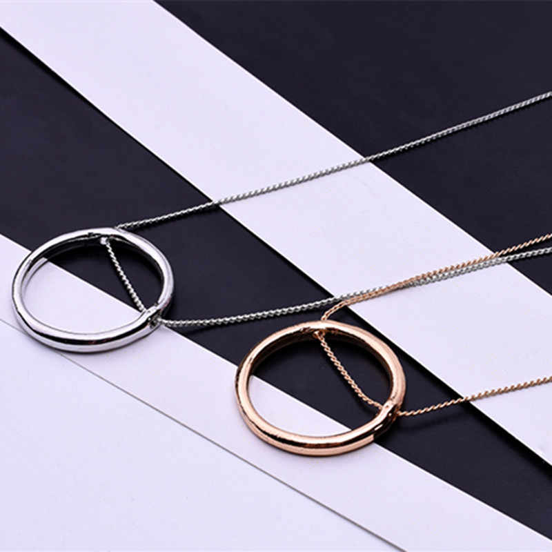 Fashion geometry circle pendant necklace for women/men gold /silver color hollow round Yang Mi with the necklace