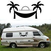 2x Coconut Tree Hammock One For Each Side Camper Van RV Trailer Truck MotorHome Vinyl Graphics
