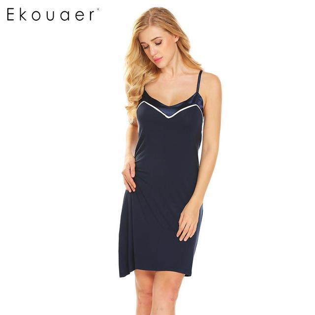 1bd0c14f4f0 Ekouaer Cotton Nightgown Sexy Soft Sleepwear V-Neck Backless Satin  Patchwork Women Babydoll Chemise Nightwear Nighties Dress