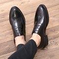 Большой Размер 45 Британский Стиль Бренда Натуральной Кожи Моды для Мужчин оксфорд Свадебная Обувь Мужской Острым Носом Офис Обуви Платье Обувь плоские
