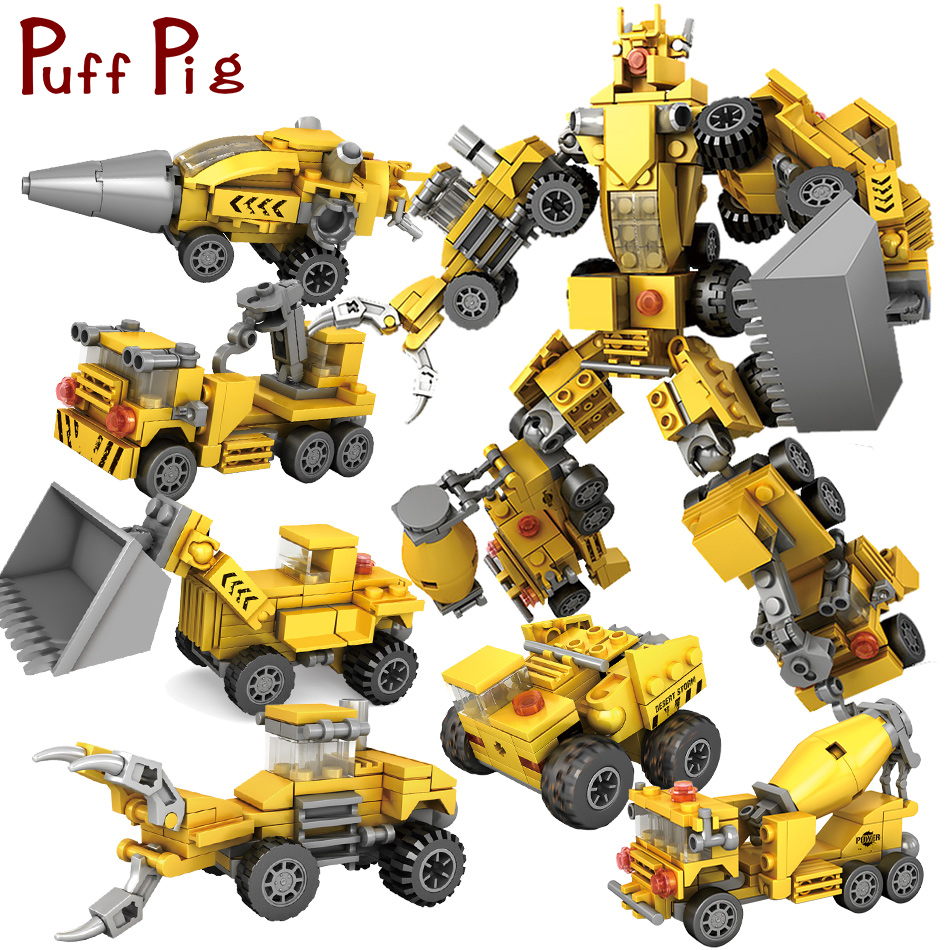 368 stücke 6 in 1 Transformation Roboter Serie Stadt Ingenieur Fahrzeuge Bausteine Kompatibel Legoed Technik Auto Spielzeug Für Kinder