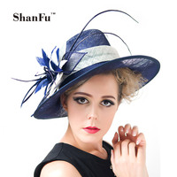ShanFu Ladies Kentucky Derby Hat Women Sinamay Large Fascinators Church Hat With Flower Feather Royal Ascot Melbourne Cup H9136