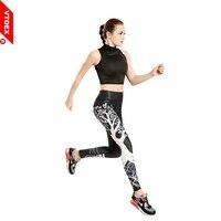 VTDEX Women Sports Running Pants 2017 New Plus Size Stretch Fitness Leggings Tree Print Elastic Black Joggers Workout GYM Tights