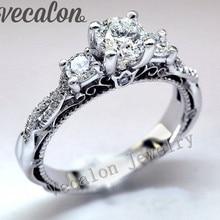 Promoción 94% de DESCUENTO Vecalon Venda de boda del anillo de Compromiso de la Vendimia para las mujeres de la Cz diamond anillo de Plata de Ley 925 anillo de Dedo Hembra