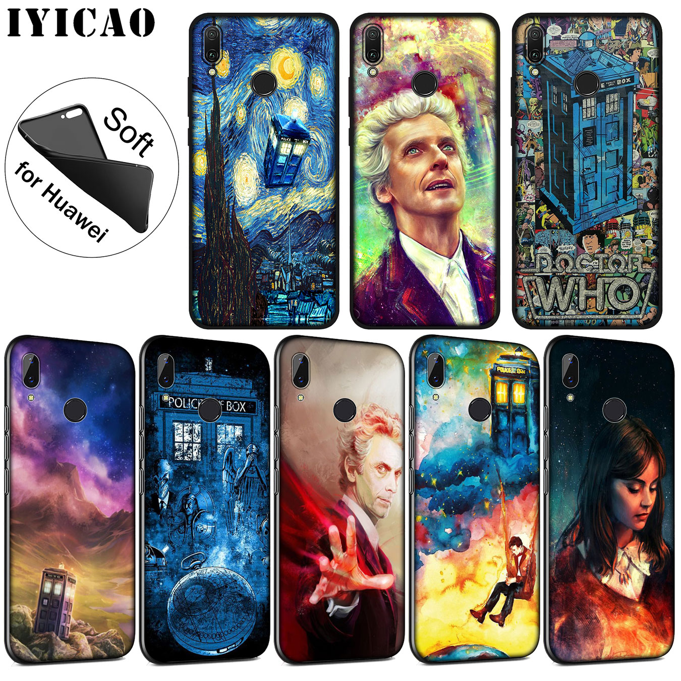 Iyicao Tardis Box Doctor Who Soft Silicone Phone Case For Huawei P20 Pro P10 P9 P8 Lite Mini 2017 2015 P Smart 2019 Black Cover Good For Energy And The Spleen Fitted Cases Cellphones & Telecommunications