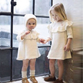 New Baby Costume Autumn Lovely Princess Lace Dress Girls White Clothes Solid Cute Half Sleeve Children Sweater Warm Girl Dress