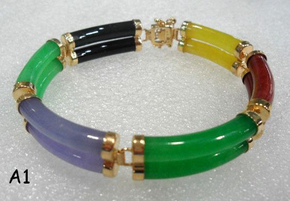 5 Color Free Choice Fine 2 Row Green Purple Multi Jade Bangle