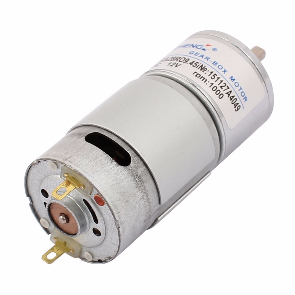 Uxcell(R) Hot Sale 1Pcs DC 12V 1000RPM 9.45i High Torque Permanent Magnetic DC Gear Motor dc 155a915z r
