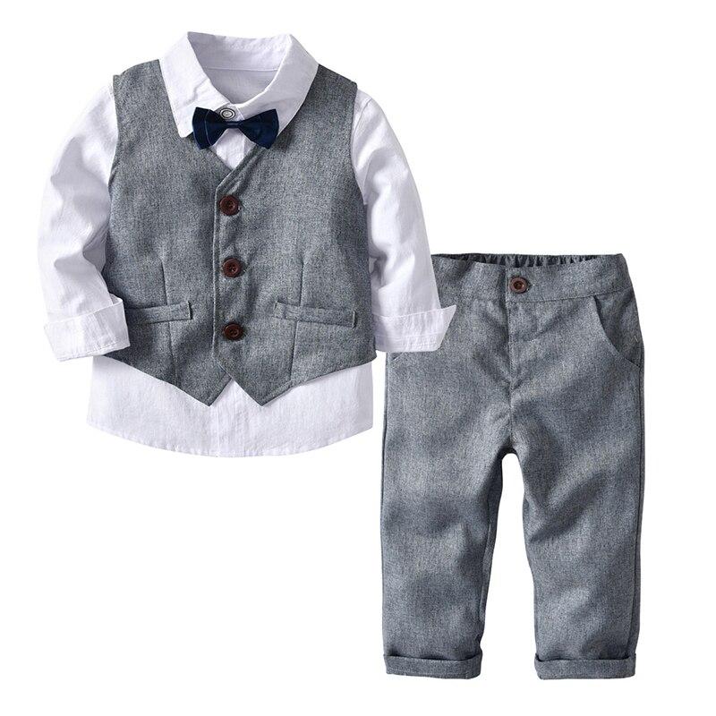 Mode enfant garçons pantalons ensemble garçons chemise gilet pantalon 3 pièces costume à manches longues chemise pour enfants vêtements enfants ensembles 24M-7Y