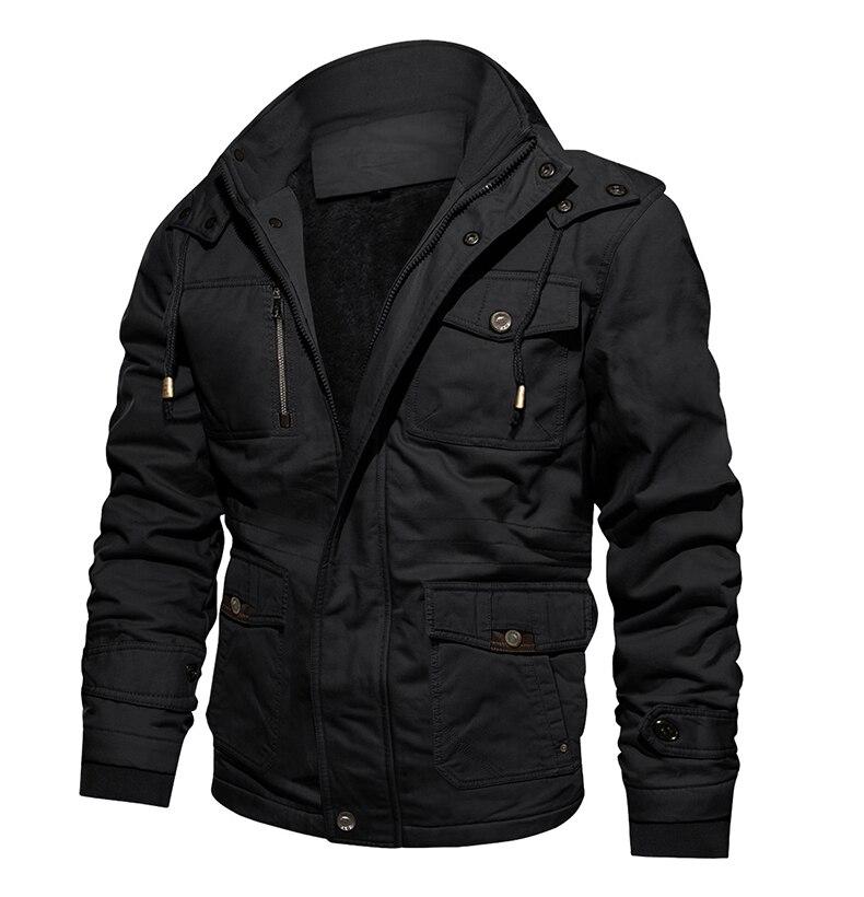 TACVASEN Military Jacket Men Winter Thick Cargo Jacket Coat Thermal Fleece Pilot Jackets Air Force Casual Windbreaker for Men