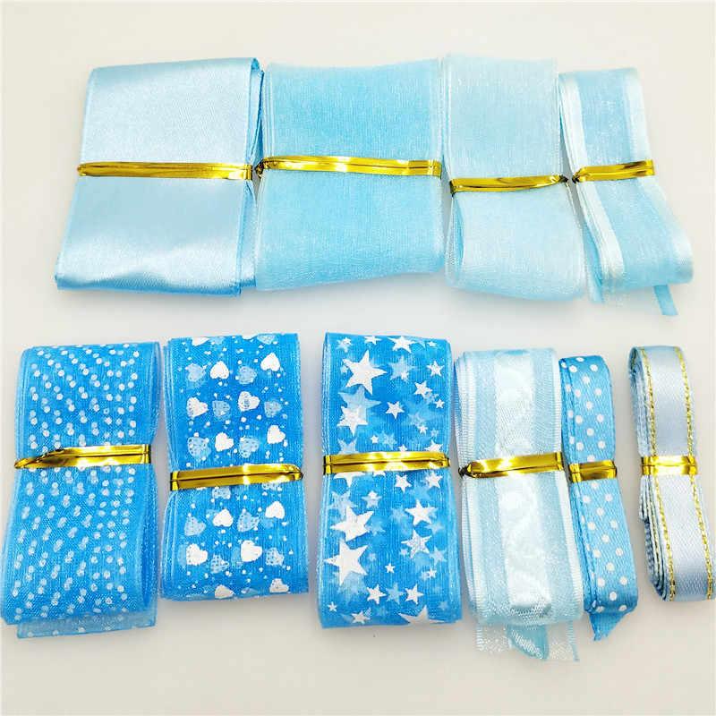 """10 חצרות/חבילה הרבה סגנונות כחול לערבב 10-40 מ""""מ רוחב מודפס אורגנזה סרטי חתונה חג המולד קישוטי DIY אביזרי G0142"""