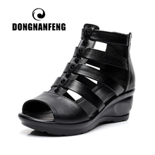 купить DONGNANFENG Women Female Old Mother Ladies Shoes Sandals Summer Cool Cover Heel Cow Genuine Leather Zipper Size 35-41 ADM-616-1 по цене 1519.51 рублей