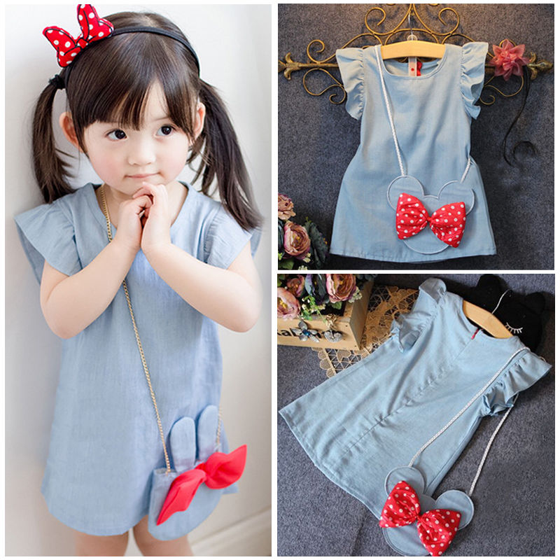 Toddlers Kids Baby Girl Dresses 2016 Clothing Dress Cartoon Bag Bow Dark Blue Ruffles Demin Casual Dresses Girl 1-5Y