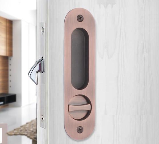 Round Sliding Pocket Door Lock Mortise Lock Set in Privacy Hook Bolt (Door Thick: 35-45mm) Hanging slide wooden door