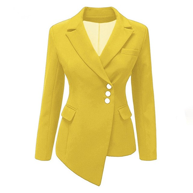 Plus Size Autumn Solid Short Blazer Women Casual Asymmetric Suit Coat Office Lady Slim Blazer Jacket 3