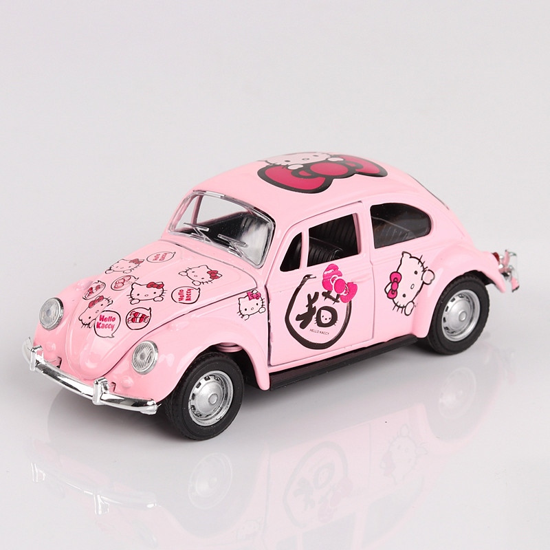 hello kitty classic car charcoal simulation alloy sound light back to open door girl kids toys