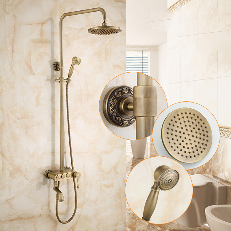 Retro Style Solid Brass Antique Brass Shower Mixer Tap with Rotate Tub Spout Brass Hand Shower Faucet