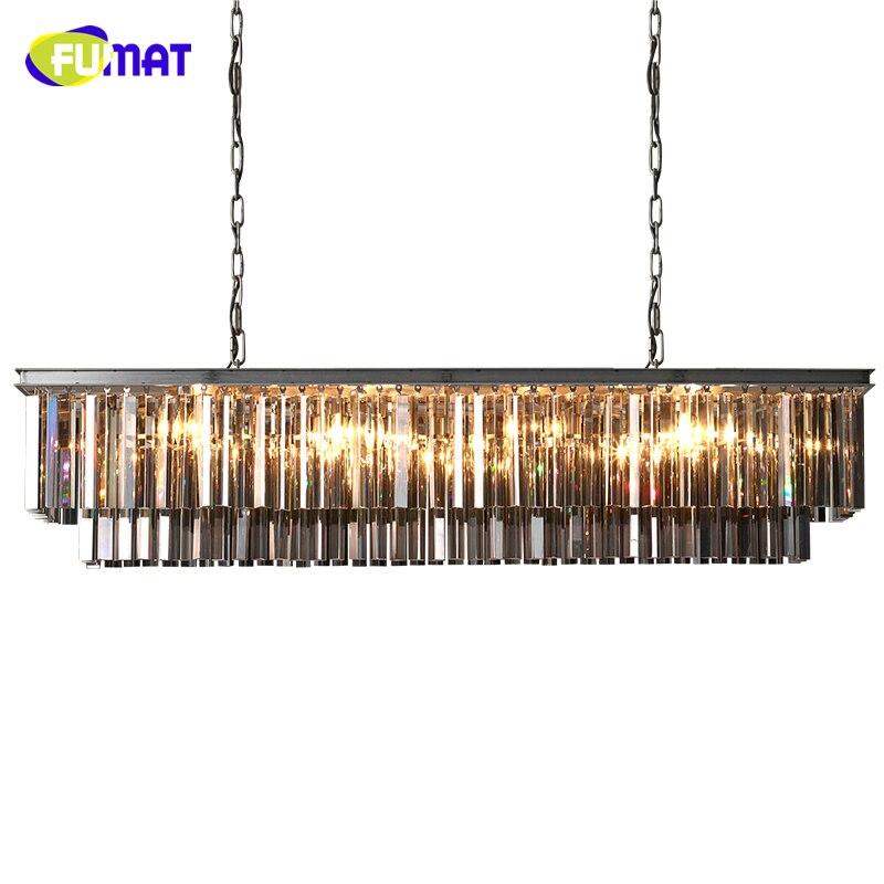 FUMAT American Rectangle Crystal Chandeliers Loft European Luxury Living Room Lightings Modern Brief LED K9 Crystal Chandelier