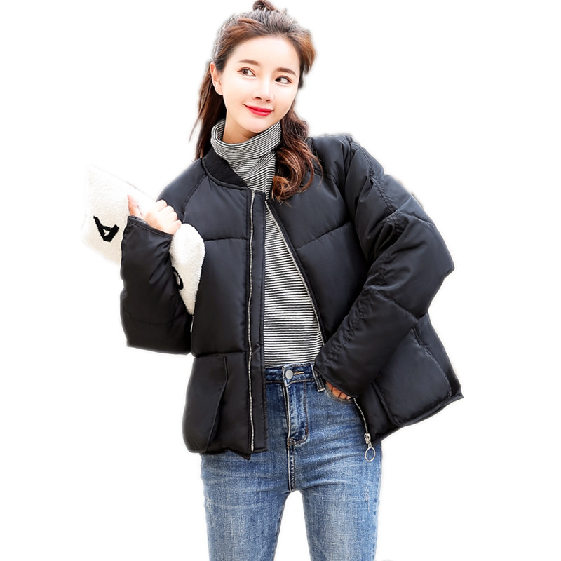 2018New Korean Style Winter Women Short Parkas Female Wide Waisted Down Cotton Jacket With Pockets Winter Women Warm CoatsCQ2163