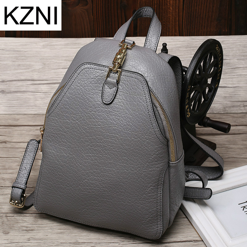 KZNI Genuine Leather Purse Women Bag Female Backpack Sac a Main Femme De Marque Bolsas Feminina  L111313 kzni genuine leather purse crossbody shoulder women bag clutch female handbags sac a main femme de marque l123103