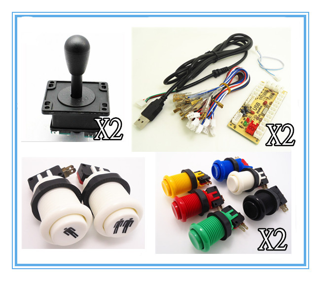 1 kit of single player PC joystick PCB, USB joystick PCB with wires, USB controls to Jamma arcade games arcade bundle with 60 in 1pcb power supply illuminated joystick illuminated button microswitch jamma harness speaker ground wire