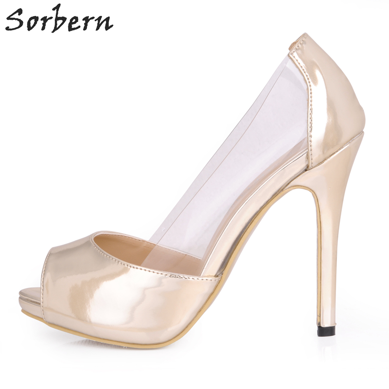 Sorbern Light Gold Patent Leather Women Pumps Clear Pvc Shoes Women High Heels Slip On Transparent Plastic Ladies Wedding Shoes luxury brand crystal patent leather sandals women high heels thick heel women shoes with heels wedding shoes ladies silver pumps