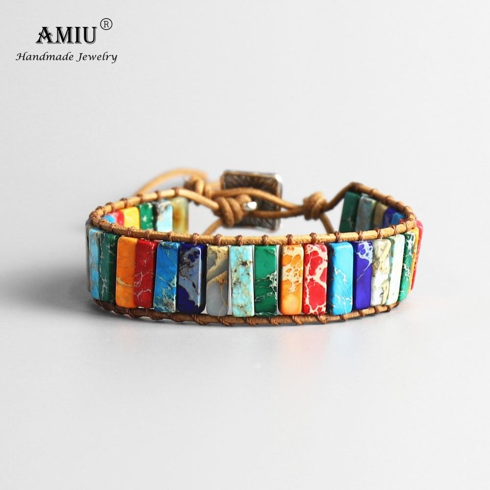 AMIU Handmade 7 Chakra Natural Tube Beads Stone Bracelet Leather Wrap Pierre Naturelle Bangle for Women Men Jewelry Bracelet