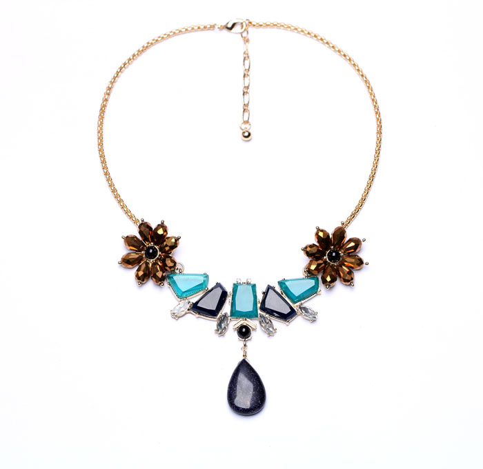Blue Irregular Geometric Flower Waterdrop Necklace Ali express 2017 New Designer Jewelry Necklace Women Bijoux