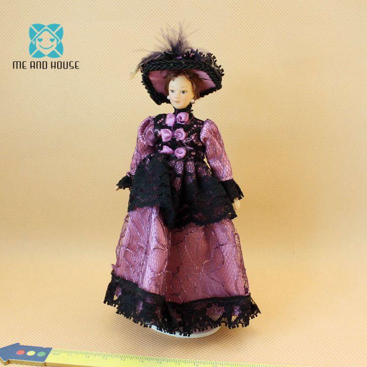 Handmade Dollhouse Miniature Cartoon Porcelain Dolls Play Model Western-style Dress Dolls For Girl 1:12 Scale