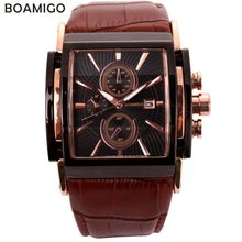 BOAMIGO men quartz watches large dial fashion casual sports watches rose gold sub dials clock brown leather male wrist watches(China)
