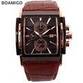 BOAMIGO мужчины кварцевые часы большой циферблат моды случайные спортивные часы розовое золото циферблат под наборы часы коричневый кожаный мужской наручные часы