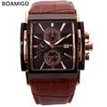 BOAMIGO hombres moda casual deportes relojes de oro rosa relojes de cuarzo dial grande sub diales reloj hombre relojes de pulsera de cuero marrón