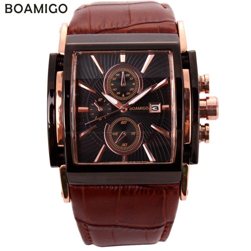 BOAMIGO hommes montres à quartz grand cadran mode décontracté sport montres or rose sous cadrans horloge marron cuir homme montres-bracelets