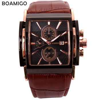 BOAMIGO men quartz watches large dial fashion casual sports rose gold sub dials clock brown leather male wrist - discount item  90% OFF Men's Watches