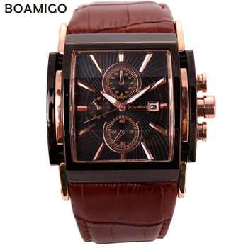 BOAMIGO men quartz watches large dial fashion casual sports watches rose gold sub dials clock brown leather male wrist watches - DISCOUNT ITEM  90% OFF All Category