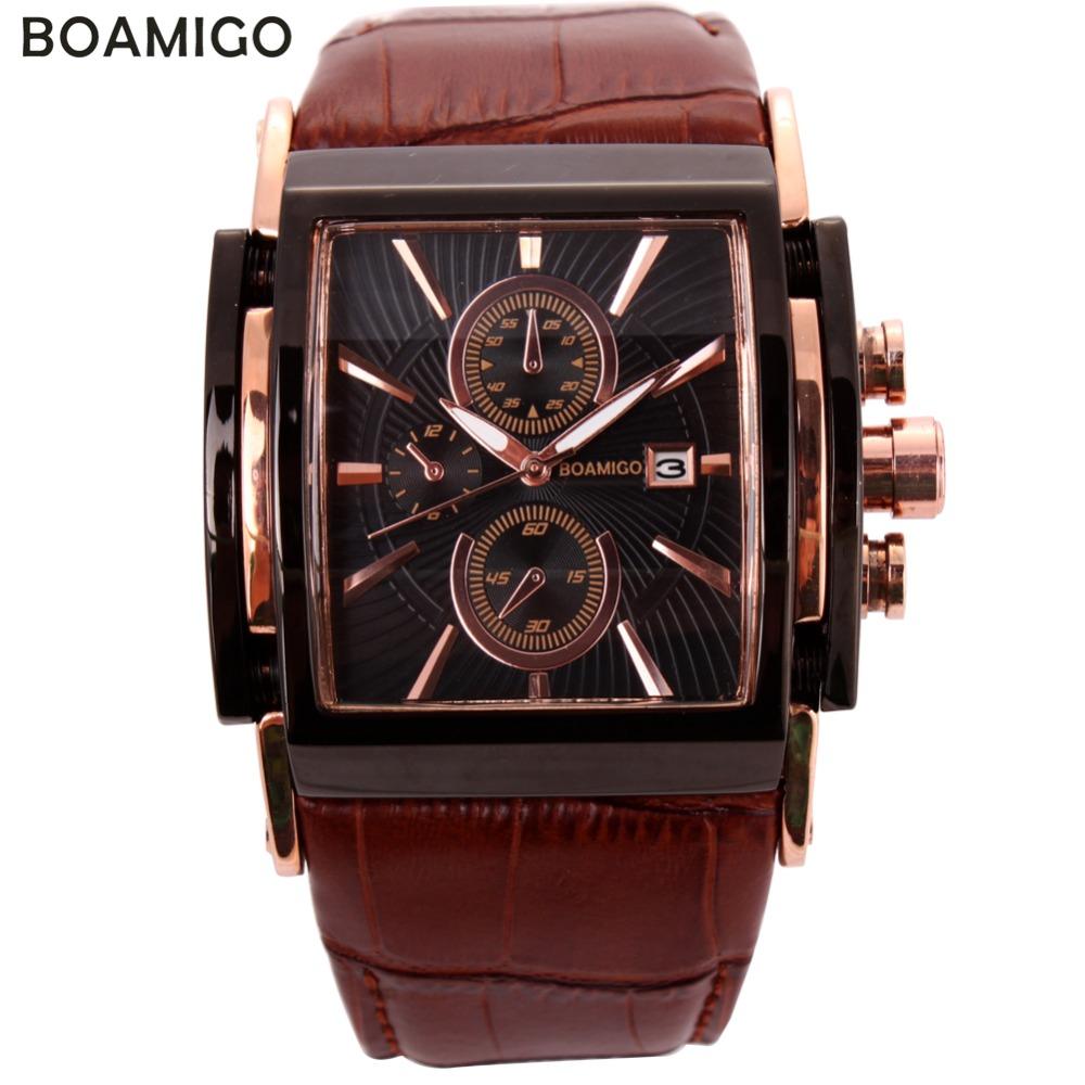 Prix pour Boamigo hommes montres à quartz grand cadran mode casual sport montres rose d'or sous cadrans horloge brun en cuir mâle poignet montres