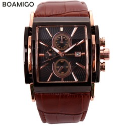 Boamigo relógios de quartzo dos homens grande dial moda casual esportes relógios rosa ouro sub mostradores relógio de couro marrom masculino relógios de pulso