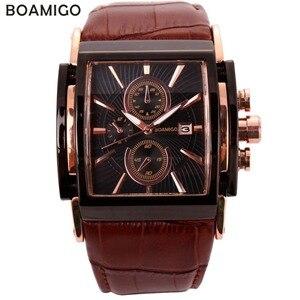 Boamigo relógios de quartzo dos homens grande dial moda casual esportes relógios rosa ouro sub mostradores relógio de couro marrom masculino relógios de pulso|watch or be watched|watch circle|watch craft watches -