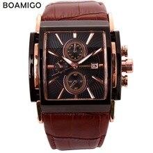 Bomigo montres à quartz pour hommes, grand cadran, de sport, couleur or rose, marron, horloge, bracelet en cuir pour hommes, tendance décontracté