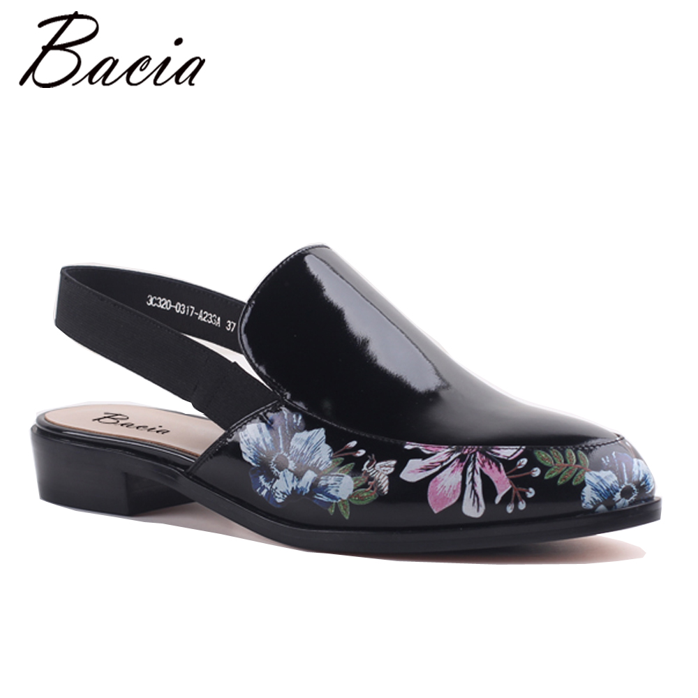 Bacia Retro Floral Luxury Shoes Oiled Cow Leather Flats Women Vintage Black Casual Footwear Comfortable Leisure Flat SA065 NEW vintage embroidery women flats chinese floral canvas embroidered shoes national old beijing cloth single dance soft flats
